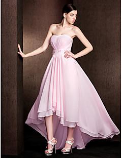 Brautjungfernkleid Chiffon/Stretch-Satin - A-Linie - asymmetrisch - trägerloser Ausschnitt