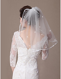 Wedding Veil One-tier Shoulder Veils Ribbon Edge / Beaded Edge 21.65 in (55cm) Tulle White / Ivory