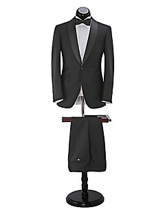 Suits Slim Fit Shawl Collar Single Breasted One-button 2 Pieces Black Straight Flapped None (Flat Front) Black None (Flat Front)