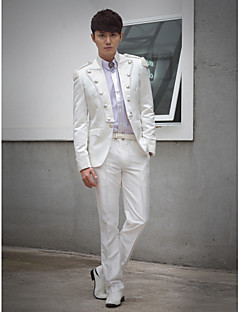 White Beading Slim Fit Tuxedo In Polyester
