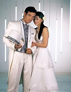 bílý polyester slim fit dvoudílný smoking