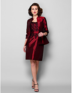 Sheath/Column Plus Size / Petite Mother of the Bride Dress - Knee-length 3/4 Length Sleeve Taffeta
