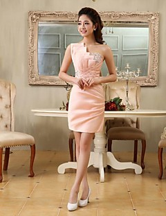 Cocktail Party Dress - Pearl Pink Plus Sizes Sheath/Column One Shoulder Short/Mini Satin