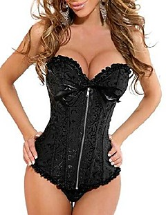 Hot Embroidery Polyester Zipper Gothice Women Corset