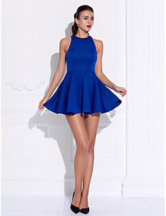 Retrouvailles robe de cocktail party / de bal - bleu royal une ligne / princesse joyau mini court jersey /