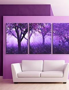 E-HOME® Stretched LED Canvas Print Art Purple Trees Flash effect LED Set of 3