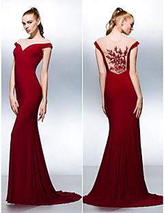 Vestido - Vermelho Tubo/Coluna Jóia Cauda Média Chiffon