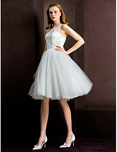 Ball Gown Wedding Dress - Ivory Tea-length Jewel Tulle