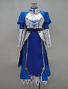 Inspired by Fate/Zero Saber Video Game Cosplay Costumes Cosplay Suits / Dresses Patchwork Blue Long SleeveBreastplate / Dress / Gloves /