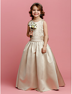 A-line Floor-length Flower Girl Dress - Satin Sleeveless Jewel with Beading / Bow(s) / Sash / Ribbon / Ruching