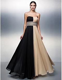 포멀 이브닝 드레스 A-라인 끈없는 스타일 바닥 길이 쉬폰 와 비즈 / 허리끈/리본 / 스팽글