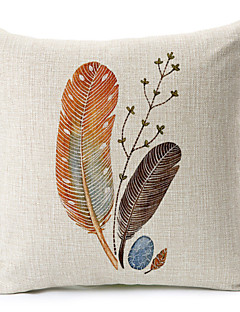 plumes coton motif / lin taie d'oreiller décoratif