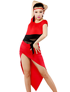 Latin Dance Outfits Women's Elastic Woven Satin / Tulle Leopard Brown / Red / Zebra Latin Dance