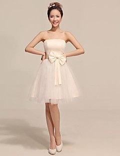 Robe de Demoiselle d'Honneur - Champagne A-line/Princesse Sans bretelles Longueur genou Tulle