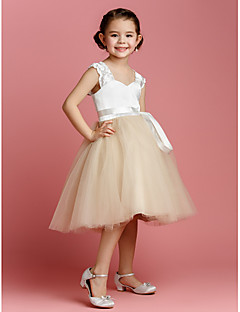 Ball Gown Knee-length Flower Girl Dress - Tulle / Charmeuse Sleeveless Straps with Sash / Ribbon