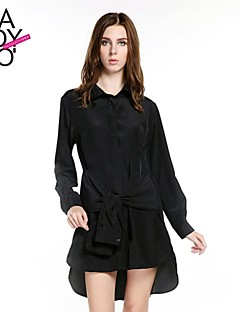 haoduoyi® Women's Long Sleeve Hitch Waist Invisible Buttons Long Sleeve Stepped Hem Shirt Dress