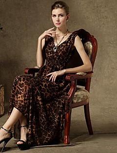 שמלות ההדפסה מזדמנת אופנת צוואר v של נשים