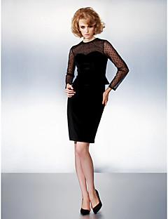 TS Couture שמלה - סקסי מעטפת \ עמוד עם תכשיטים באורך  הברך קטיפה עם פפיון(ים)