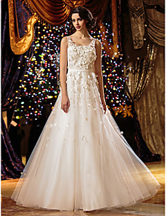 A-line/Princess Wedding Dress - Ivory Floor-length Scoop Tulle