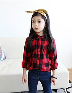 Girl's Check Shirt,Cotton Winter / Spring / Fall Red