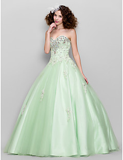 Ball Gown Sweetheart Floor Length Tulle Prom Formal Evening Dress with Beading Appliques Crystal Detailing by TS Couture®