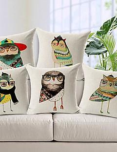ensemble de 5 coton coloré mr.owl / linge taie d'oreiller décoratif