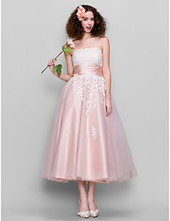 TS Couture Prom Dress - 1950s A-line Strapless Ankle-length Tulle Stretch Satin with Lace Ruching