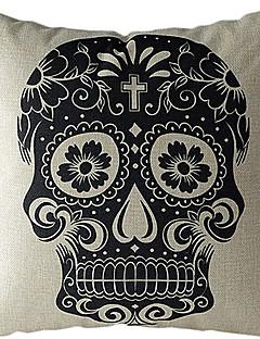 crâne noir en coton / lin imprimé taie d'oreiller décoratif