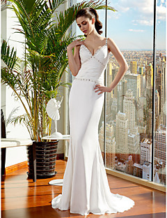 Trumpet/Mermaid Wedding Dress - Ivory Sweep/Brush Train Spaghetti Straps Satin Chiffon