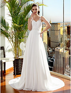 A-line/Princess Wedding Dress - Ivory Court Train Spaghetti Straps Chiffon