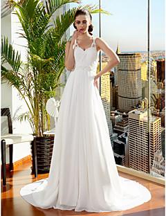 몸집이 작은 A 라인 / 공주 신부 lanting / 플러스 웨딩 드레스 코트 기차 스파게티 스트랩 쉬폰 크기