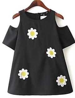 Kortærmet Rund hals Tynd Kvinders Sort Blomstret Sommer Bluse