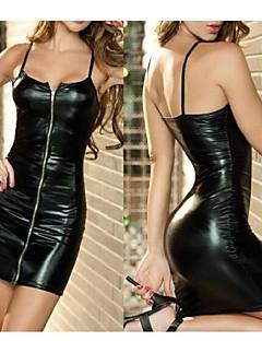 sexy unifrom couro preto com zíper clube vestido das mulheres