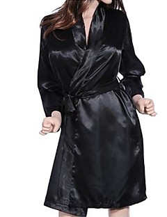 Women Robes Nightwear Solid Chiffon / Lace Black Women's