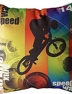 cykla bomull / linne tryckt dekorativt kuddöverdrag