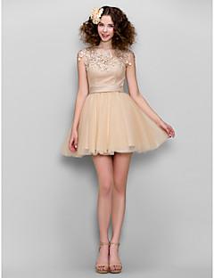 Homecoming Dress - Champagne A-line Jewel Short/Mini Chiffon