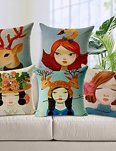 conjunto de 5 menina e animal algodão / linho fronha decorativo