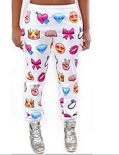 kvinners hvite Emoji joggere bukser morsomme 3d print jogger bukser