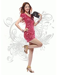 Dresses Women's Performance / Training Cotton / Polyester / Sequined Sequins Jazz / Performance Short Sleeve Natural