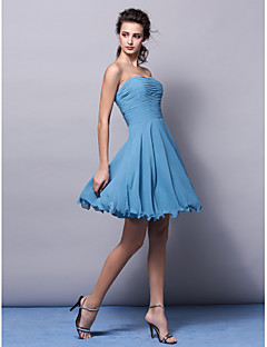 lanting 무릎 길이 쉬폰 들러리 드레스 - 풀 플러스 크기가 / 줄 끈을 몸집이 작은
