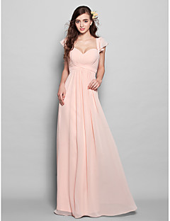Lanting Bride® Floor-length Chiffon Bridesmaid Dress - Mini Me A-line Sweetheart Plus Size / Petite with Draping / Ruffles / Ruching