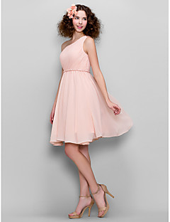 Lanting Bride® Knee-length Chiffon Bridesmaid Dress - A-line One Shoulder Plus Size / Petite with Side Draping