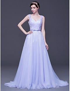 저녁 정장파티 드레스 - 라일락 A라인 스위프/브러쉬 트레인 V넥 명주그물