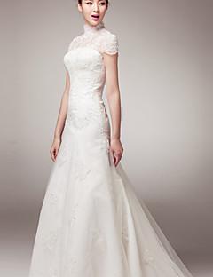 A-라인 웨딩 드레스 코트 트레인 하이 넥 레이스 와
