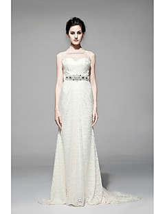 시스 / 칼럼 웨딩 드레스 바닥 길이 스윗하트 레이스 와