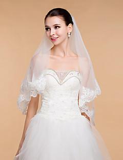 結婚式のベールの女性のエレガントチュールラインストーン2層リボンエッジベール