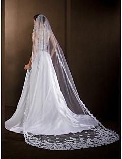 """הינומות חתונה שכבה אחת צעיפי קתדרלה אפליקצית קצה תחרה 118.11 אינץ' (300 ס""""מ) טול לבן / שנהב"""