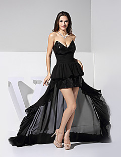 Formal Evening Dress - Black A-line V-neck Floor-length Chiffon