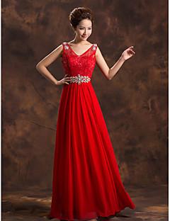 Formal Evening Dress - Plus Size A-line V-neck Floor-length Chiffon