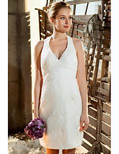 mini vestido corto / corto / mini boda - v-cuello de satén